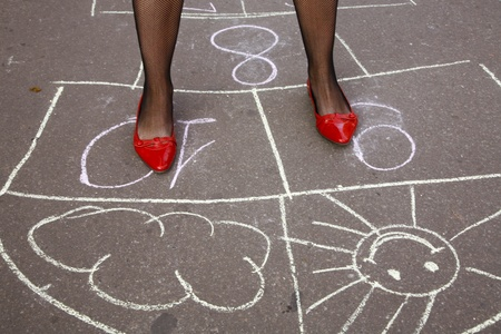 Hopscotch and smile Stock Photo