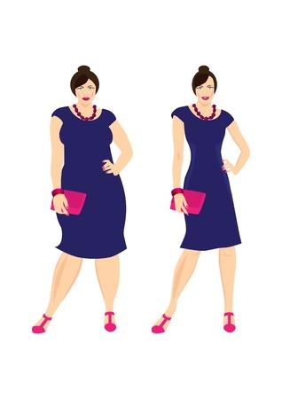 obeso: Antes e depois Ilustração