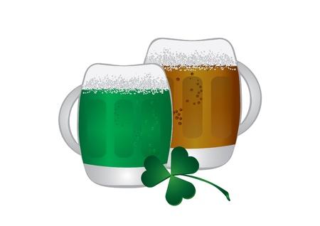 irish beer: Irish beer and shamrock