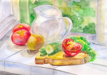 etude: Summer vegetables Stock Photo