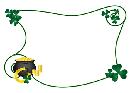 Frame for St. Patrick Day with horseshoe and pot of gold Vector