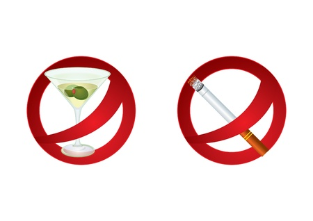 smoking ban: Two signs which represent forbidden alcohol drinking and smoking