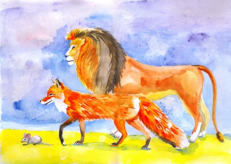 Watercolour illustration of lion, fox and little mouse looking at the left