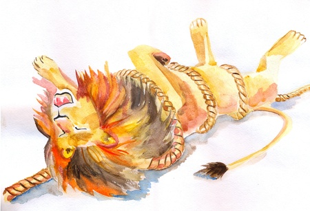 entangled: Watercolour illustration of the lion entangled in the rope Stock Photo