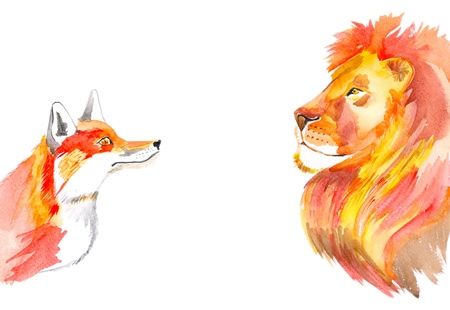 Watercolour illustration of fox and lion looking at each other