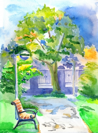 Watercolour landscape with the bench