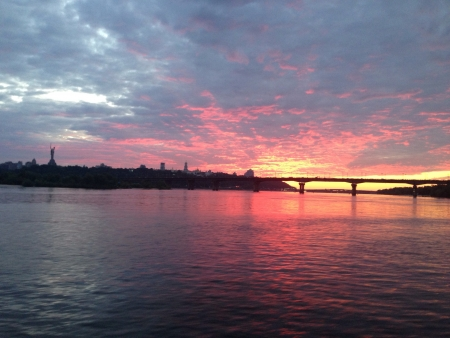 dniper: Sunset over Dnieper in June Kiev Ukraine