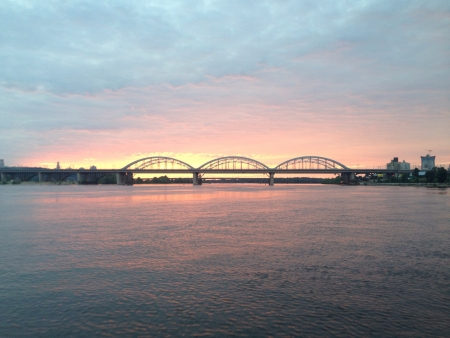dniper: Sunset over Dnieper Kiev Ukraine Stock Photo