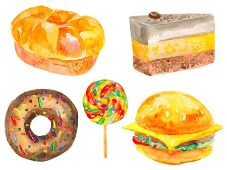 Watercolor set of bread and sweets