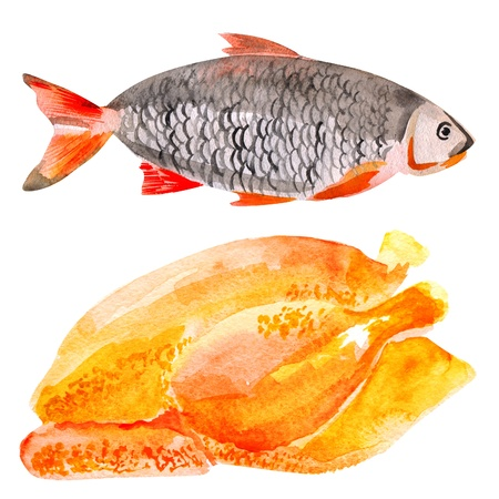 Watercolor set of fish and meat