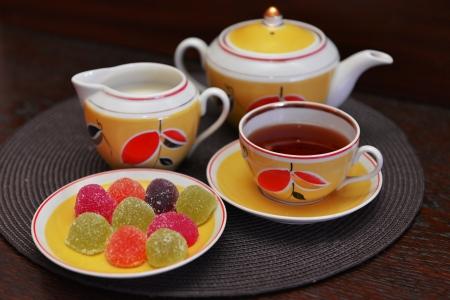 Vintage tea set ready for tea drinking Stock Photo