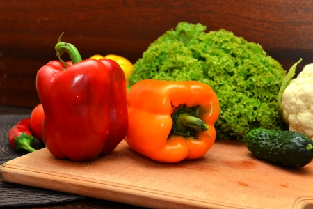 Set of fresh vegetables on the kitchen table Stock Photo