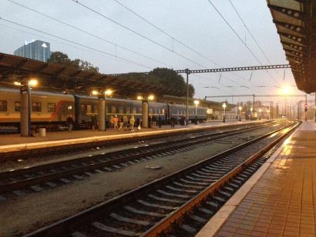 Evening at the Kiev Central Station Ukraine Stock Photo