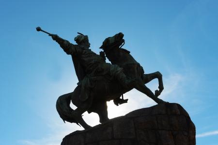 Contre-jour photo of Bohdan Khmelnytsky monument on Sofia Square in Kiev, Ukraine Stock Photo