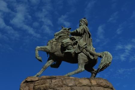 Bohdan Khmelnytsky monument against blue sky on Sofia Square in Kiev, Ukraine