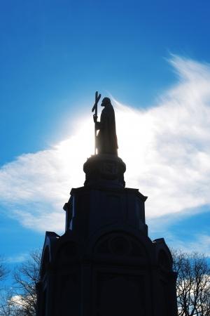 Contre-jour photo of Prince Volodymyr monument in Kiev, Ukraine