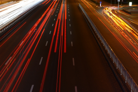 Evening view on highway with blurred moving cars