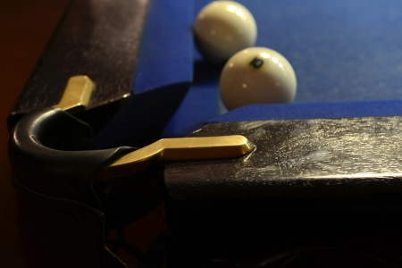 Close-up of the pocket and two billiard balls