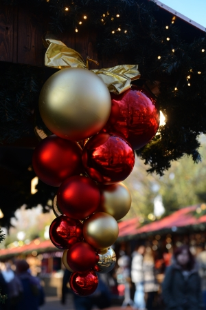 Decoration at Christmas fair in London, Great Britain Stock Photo