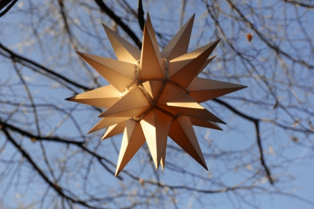 Decorative lamp in the shape of star at Christmas fair