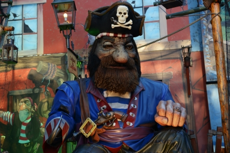 Detail of pirate ship at Christmas fair in London, Great Britain Stock Photo