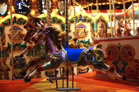 Detail of merry-go-round at Christmas fair in London, Great Britain Stock Photo