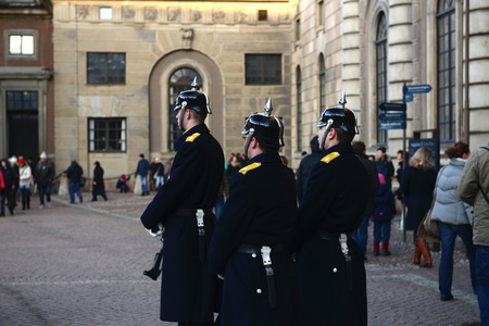 STOCKHOLM, SWEDEN  - DECEMBER 2013  Royal Palace guards are in duty after changing the guards ceremony Editorial