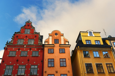 Three houses in Gamla Stan, Old Town of Stockholm in Sweden