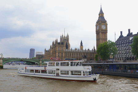 MAY, 2014 - LONDON, UK: view from the boat on Westminster Abbey and Big Ben