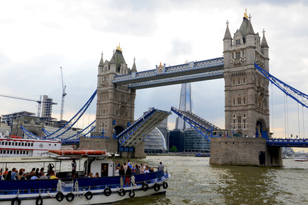 MAY, 2014 - LONDON, UK: view from the boat on Tower Bridge Editorial