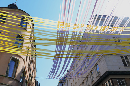 MAY, 2014 - STOCKHOLM, SWEDEN: view on the street decorated with colourful stripes