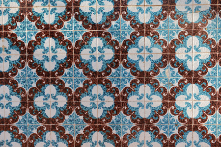 Ceramic tiles on the wall of the house in Esmoriz, Portugal Stock Photo