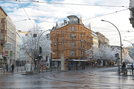 DECEMBER, 2014 - BERLIN, GERMANY: View on the urban street in Berlin