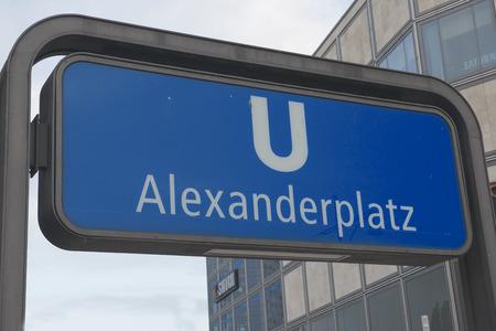 Alexanderplatz - subway sign Stock Photo
