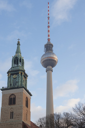 DECEMBER, 2014 - BERLIN, GERMANY: View on Berlin TV Tower from the street