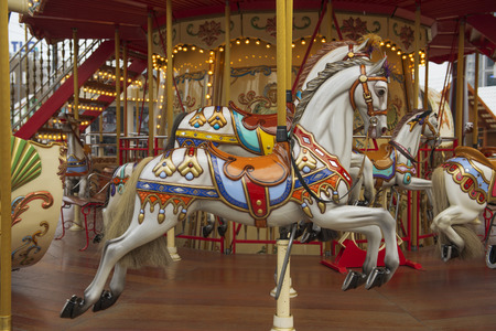 DECEMBER, 2014 - BERLIN, GERMANY: Detail of merry-go-round at Christmas fair