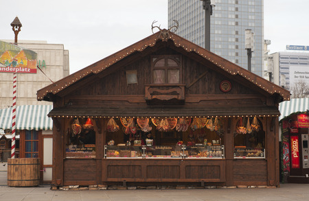 DECEMBER, 2014 - BERLIN, GERMANY: Stall at Christmas fair Editorial