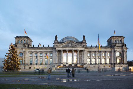 Bundestag during winter in Berlin, Germany Stock Photo
