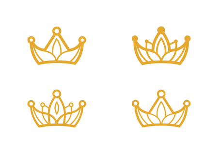 Set of four crown icons isolated on white