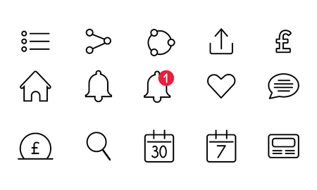 Set of the icons for mobile or web interfaces Illustration