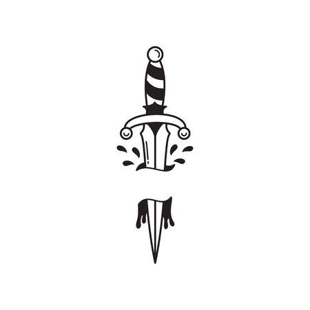 Old-School-Tattoo-Emblem-Etikett mit Dolch und Blut. Tinte im traditionellen Tätowierstil. Isolierter Vektor. Vektorgrafik