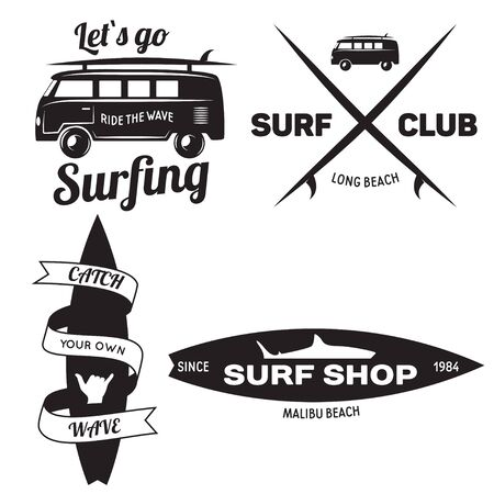 Set of Vintage Surfing Graphics and Emblems for web design or print.Beach style design. Surf Badge. Surfboard seal, elements, symbols. Summer boarding on waves. Vector hipster insignia.