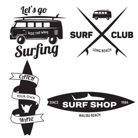 Set von Vintage Surfing Graphics und Emblemen für Webdesign oder print.Beach Style Design. Surf-Abzeichen. Surfbrettsiegel, Elemente, Symbole. Sommer-Boarding auf Wellen. Vektor-Hipster-Abzeichen.
