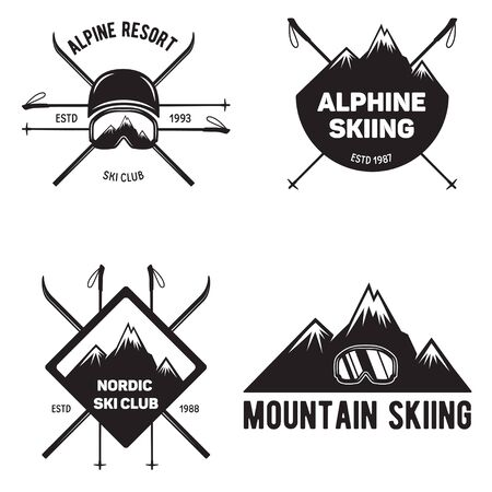Set of Ski Club. Vintage Mountain winter badges. Outdoor adventure design. Travel hand drawn and hipster insignia. Snowboard icon symbol.Vector illustration