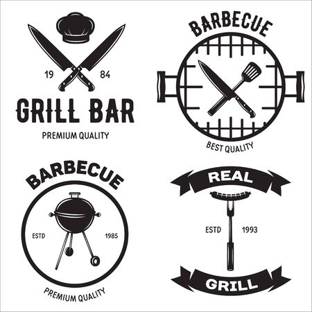 BBQ graphic flat emblems with grill forks spatulas sausage fire cap vector illustration. Isolated on white background.