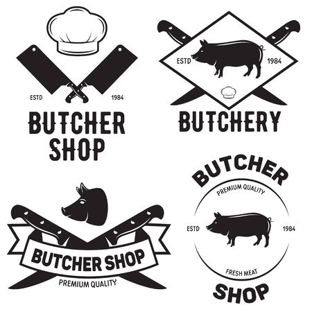Set of butchery templates. Butchery labels with sample text. Butchery design elements and farm animals silhouettes for groceries, meat stores, packaging and advertising.