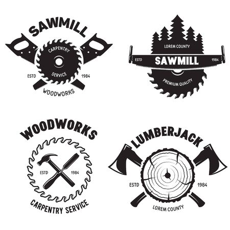 Set of isolated vintage lumberjack labels with small retro style carpentry woodworks compositions with decorative text vector illustration on white background. Ilustracje wektorowe