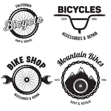 Set of vintage and modern bike shop badges and labels. Cycle wheel isolated vector. Old style bicycle shop and repair Vettoriali