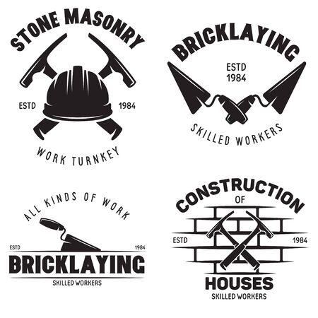 Satz von Vintage-Bau- und Maurer-Etiketten. Poster, Briefmarken, Banner und Designelemente. Vektor-Illustration Vektorgrafik