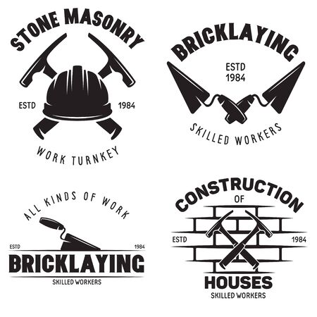 Set of vintage construction and bricklaying labels. Posters, stamps, banners and design elements. Vector illustration